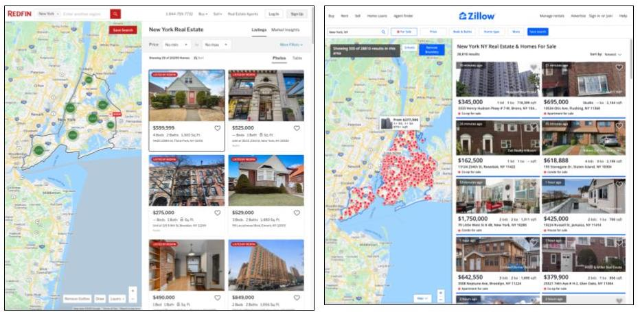 Zillow and Redfin search results comparison