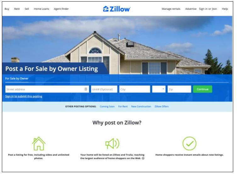 Zillow For Sale by Owner Listing service view