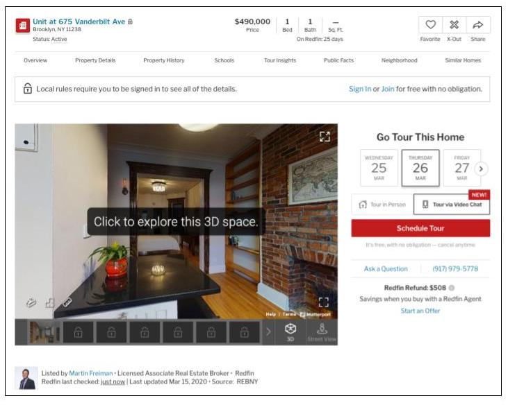 Redfin listing page with 3d tour and direct tour scheduling