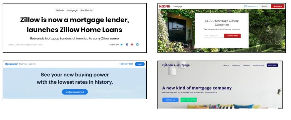 Zillow, Redfin, Opendoor, and Flyhomes lending product examples