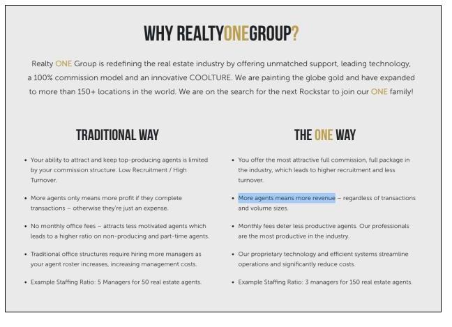 Realty ONE marketing for potential franchise partners