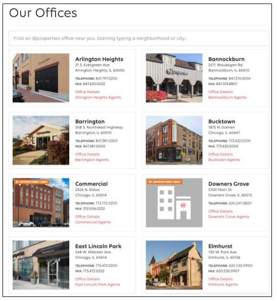 List showing a portion of @properties' locations in Chicago