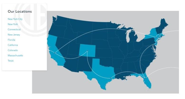 Douglas Elliman map of national coverage