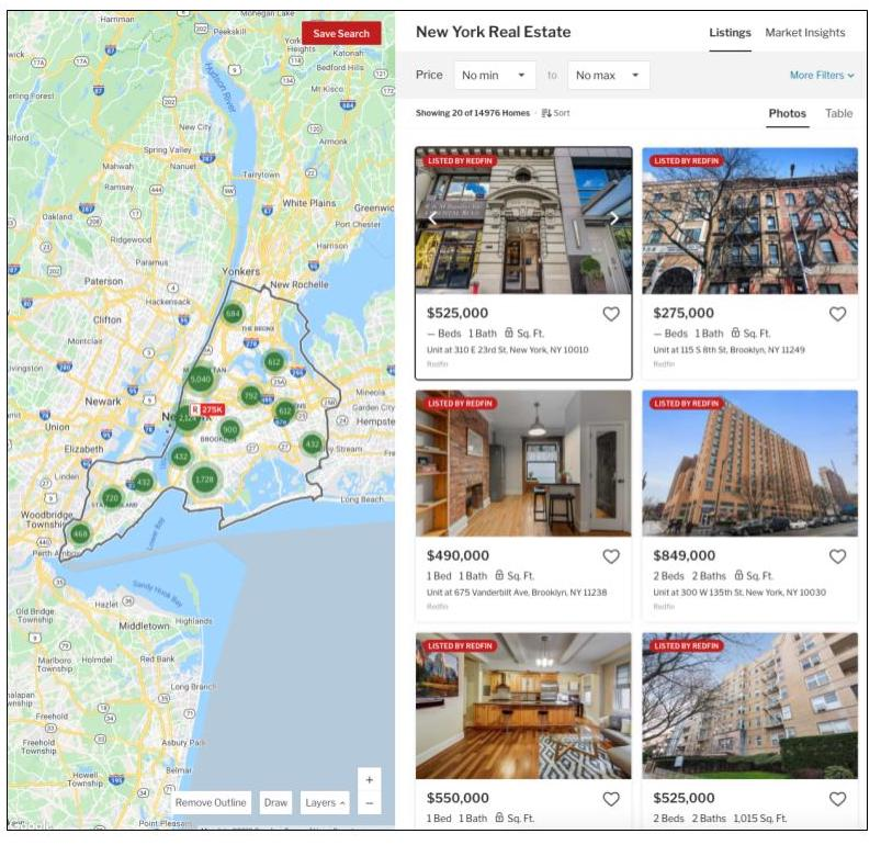 Redfin search listings results