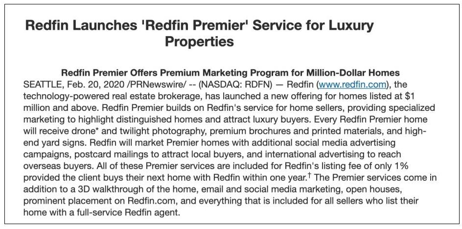Redfin announcement of Redfin Premier service focused on luxury properties