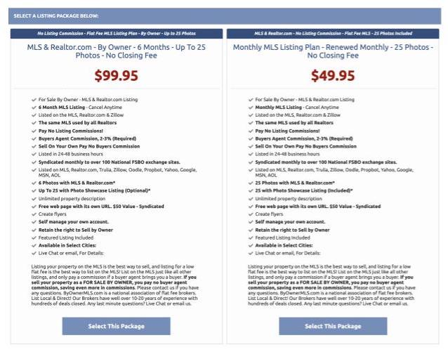 ByOwnerMLS.com pricing structure