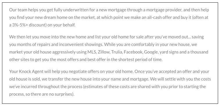 Trade up brokerage model sample service offering from Knock