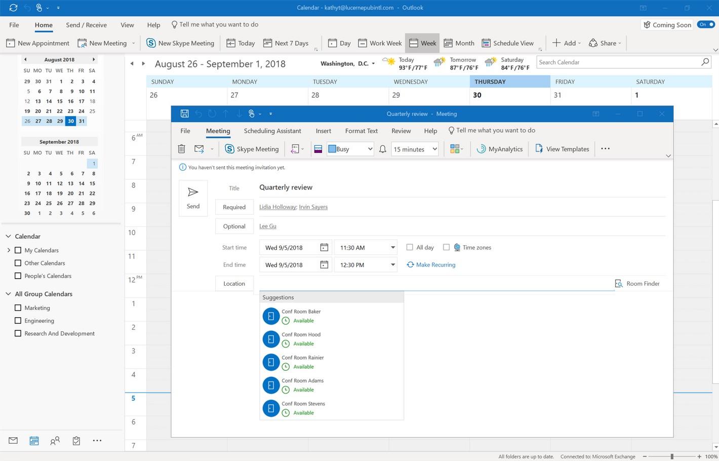 Outlook calendar & meeting request