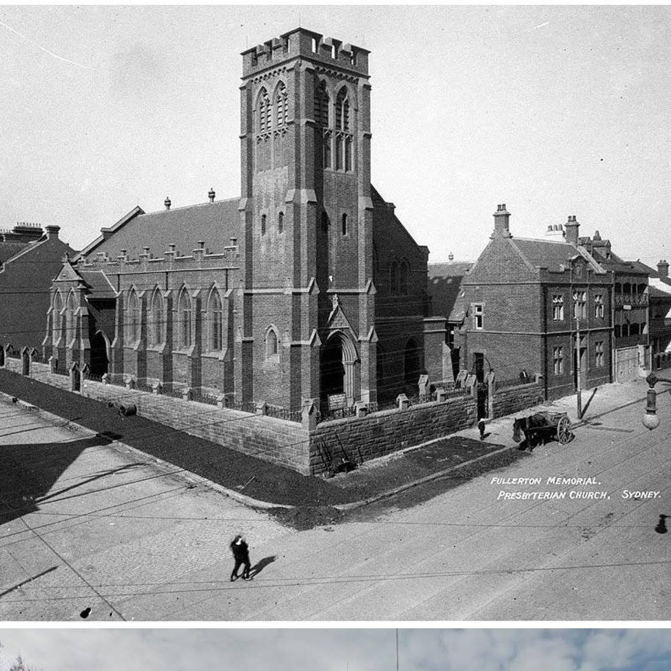 A historic image of the church building, when it was called the Fullerton Memorial Hall