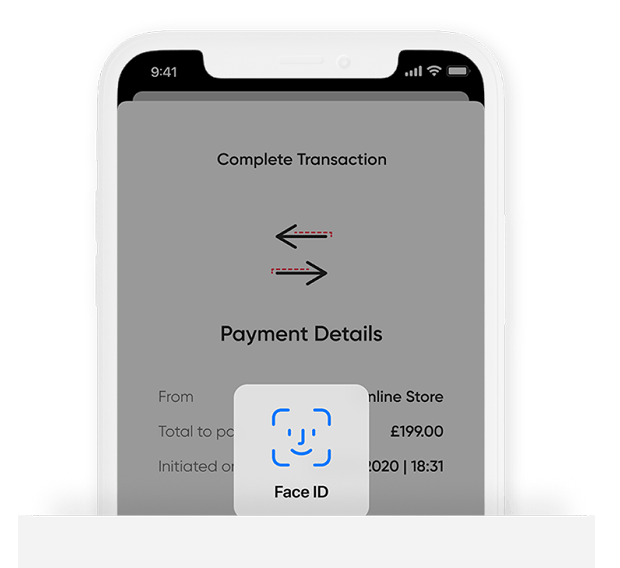 Mode app pay securely with facial recognition to confirm and make a payment with digital assets online and instore