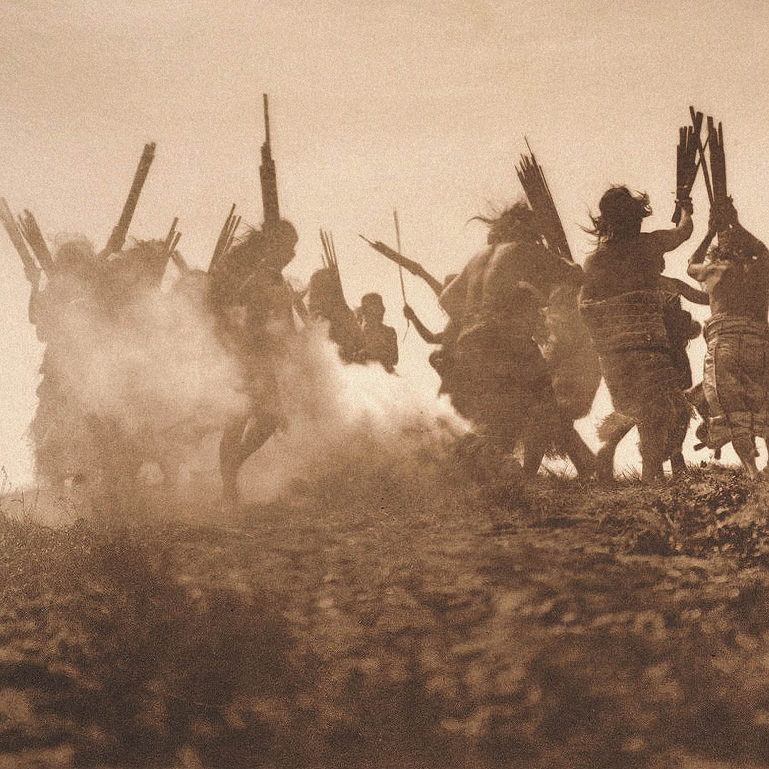 Members of the Qagyuhl tribe dance to reclaim an eclipsed moon; by Edward S. Curtis, circa 1910.
