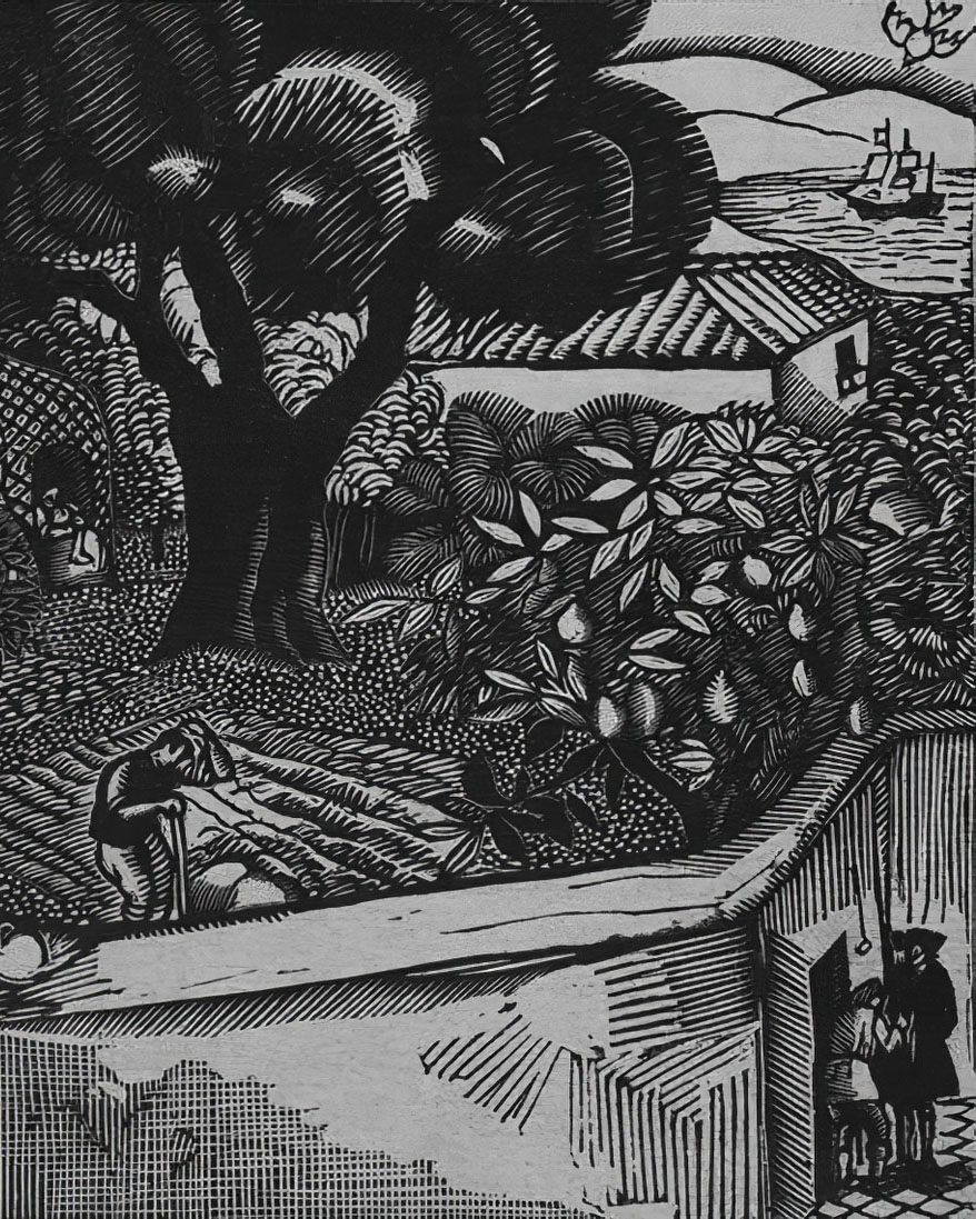 """""""All is misery and illusion... We must cultivate our garden."""" Illustration from """"Candide ou L'optimisme"""" by Fernand Siméon (1884 – 1928)."""