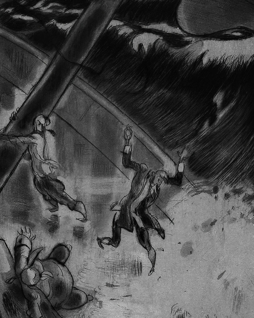 """""""The sails were rent, the masts were smashed, the ship broke up."""" Against all odds, Candide makes it to Lisbon – only to see the city almost completely destroyed by an earthquake. Illustration by Gus Bofa (1883 – 1968)"""
