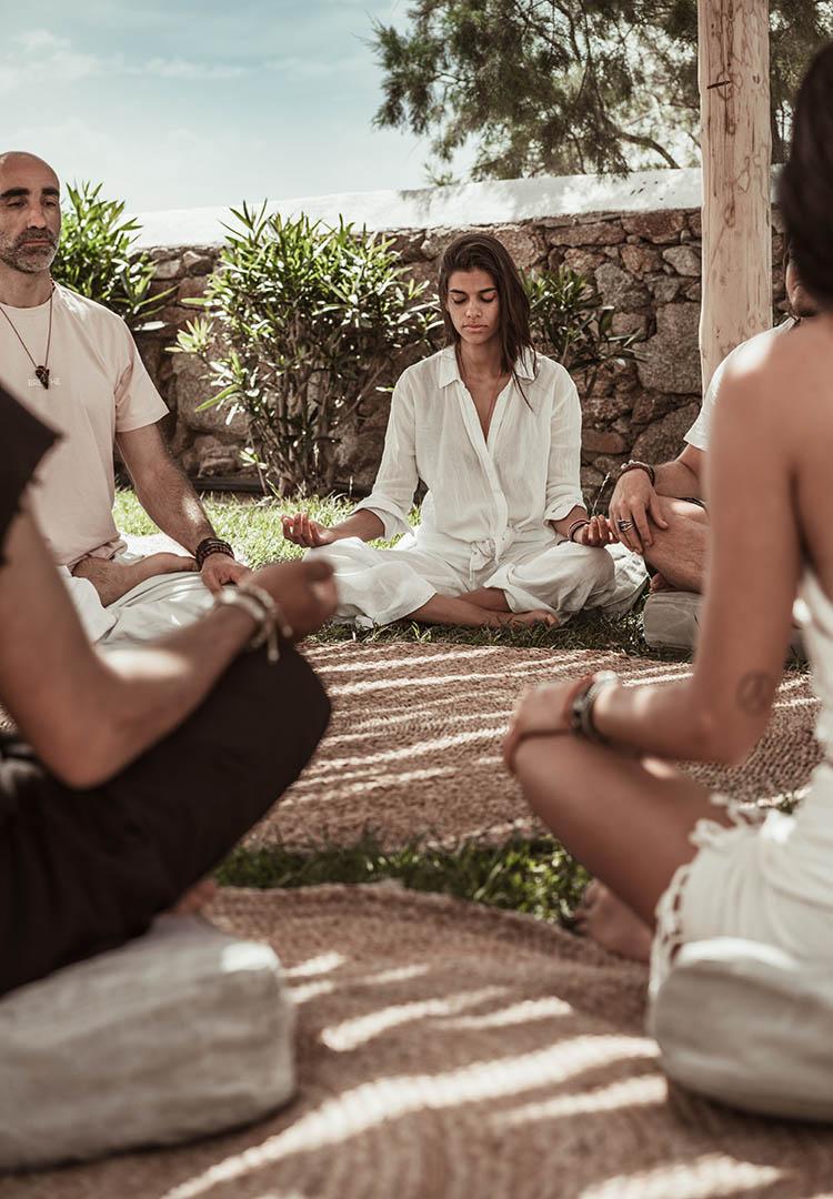 meditation circle and yoga on the beach greece