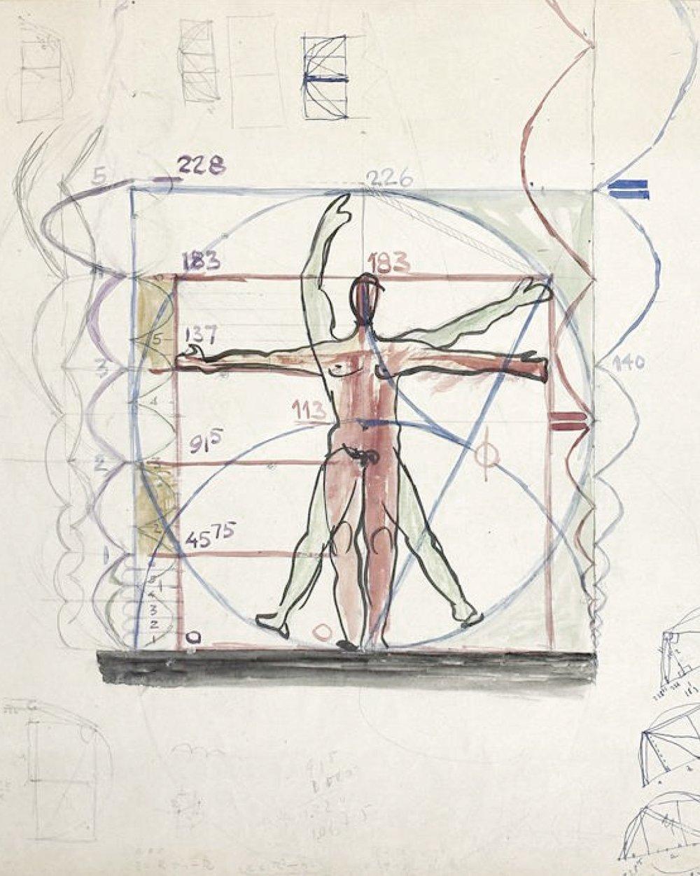 Corbusier, drawing of Le Modulor, 1945, www.fondationlecorbusier.fr