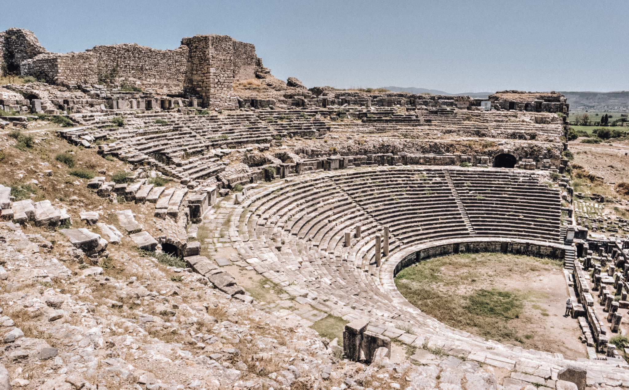 The ruins of a theatre in Miletus, an Ancient Greek city now in Aydın Province, Turkey, which is seen as the birthplace of the grid street plan.