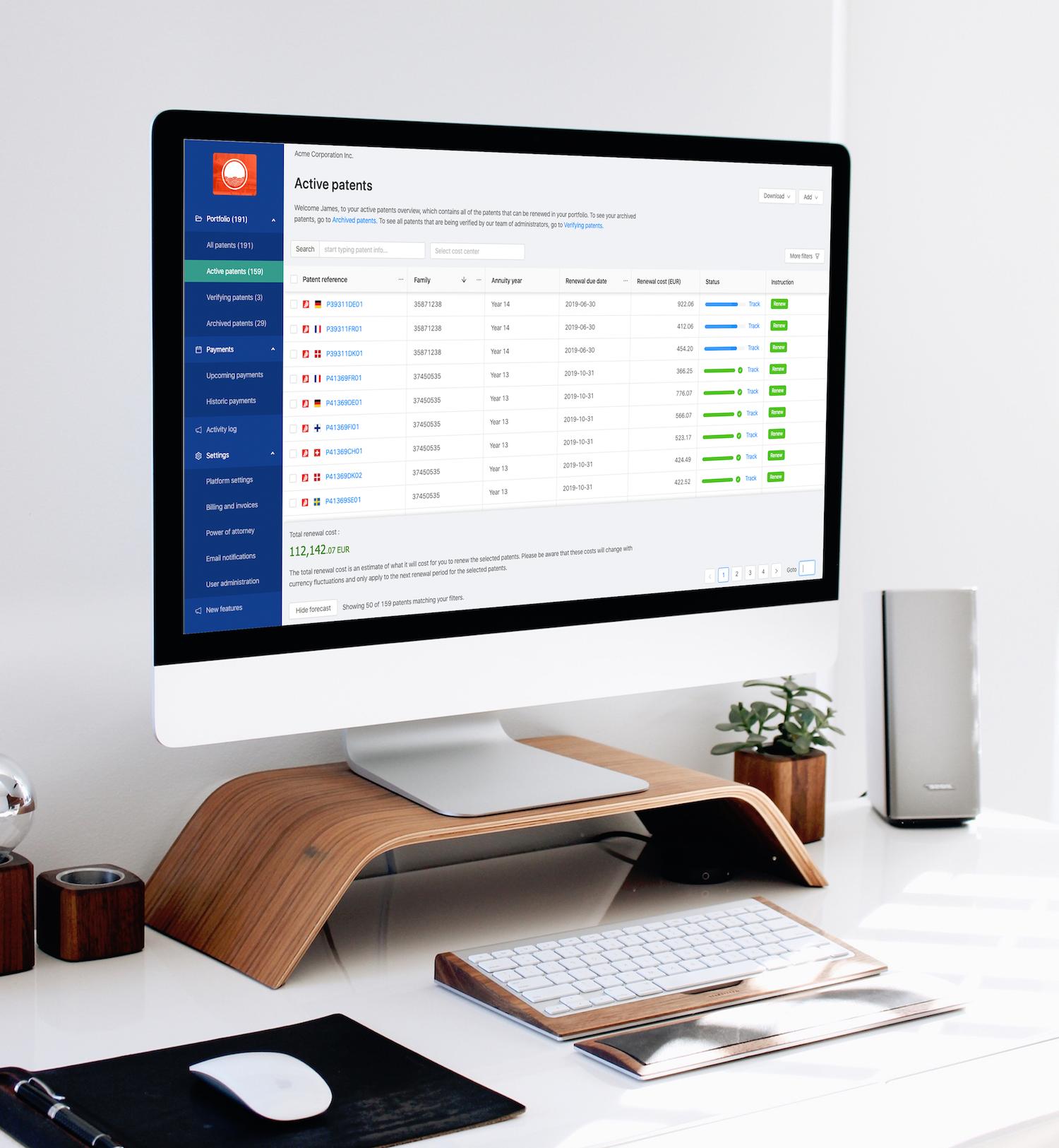 Patentrenewal platform user interface