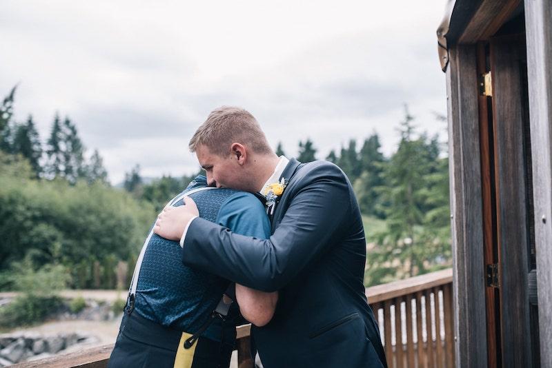 Groom hugging best man at Merridale Wedding Venue on Vancouver Island, taken by Marlboro Wang Photo for Focal bookfocal.com