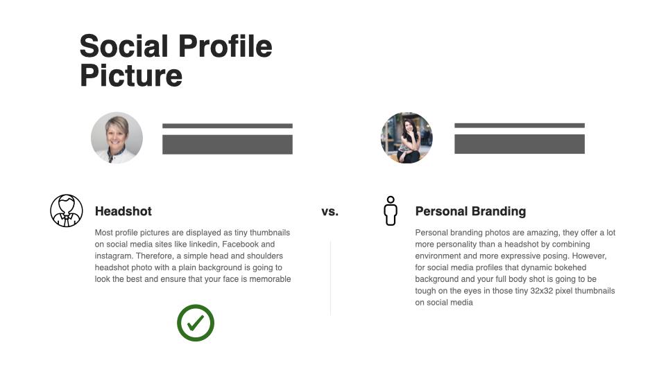 social profile picture headshot vs. personal branding infographic