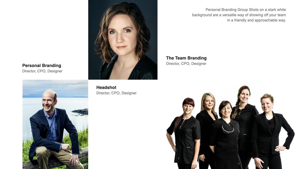 group personal branding headshot vs. personal branding infographic
