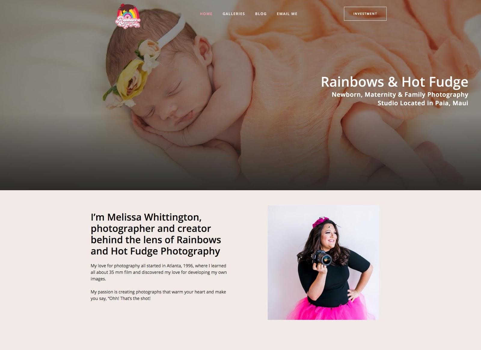 Photographer Melissa Whittington's website, Rainbows & Hot Fudge.