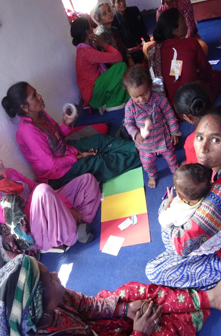Women and children in safety training