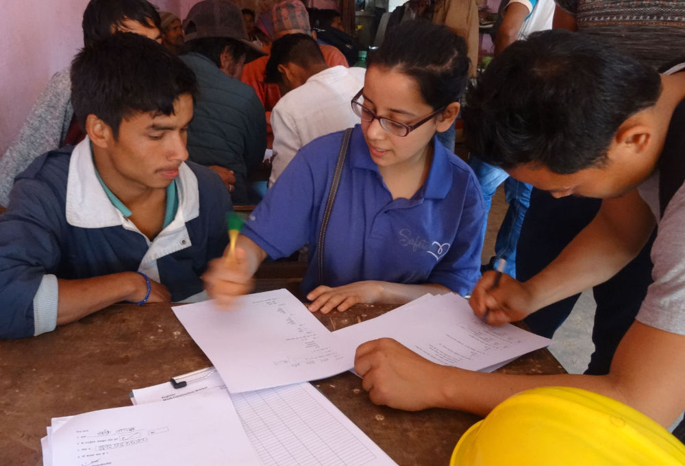 Female conducting survey