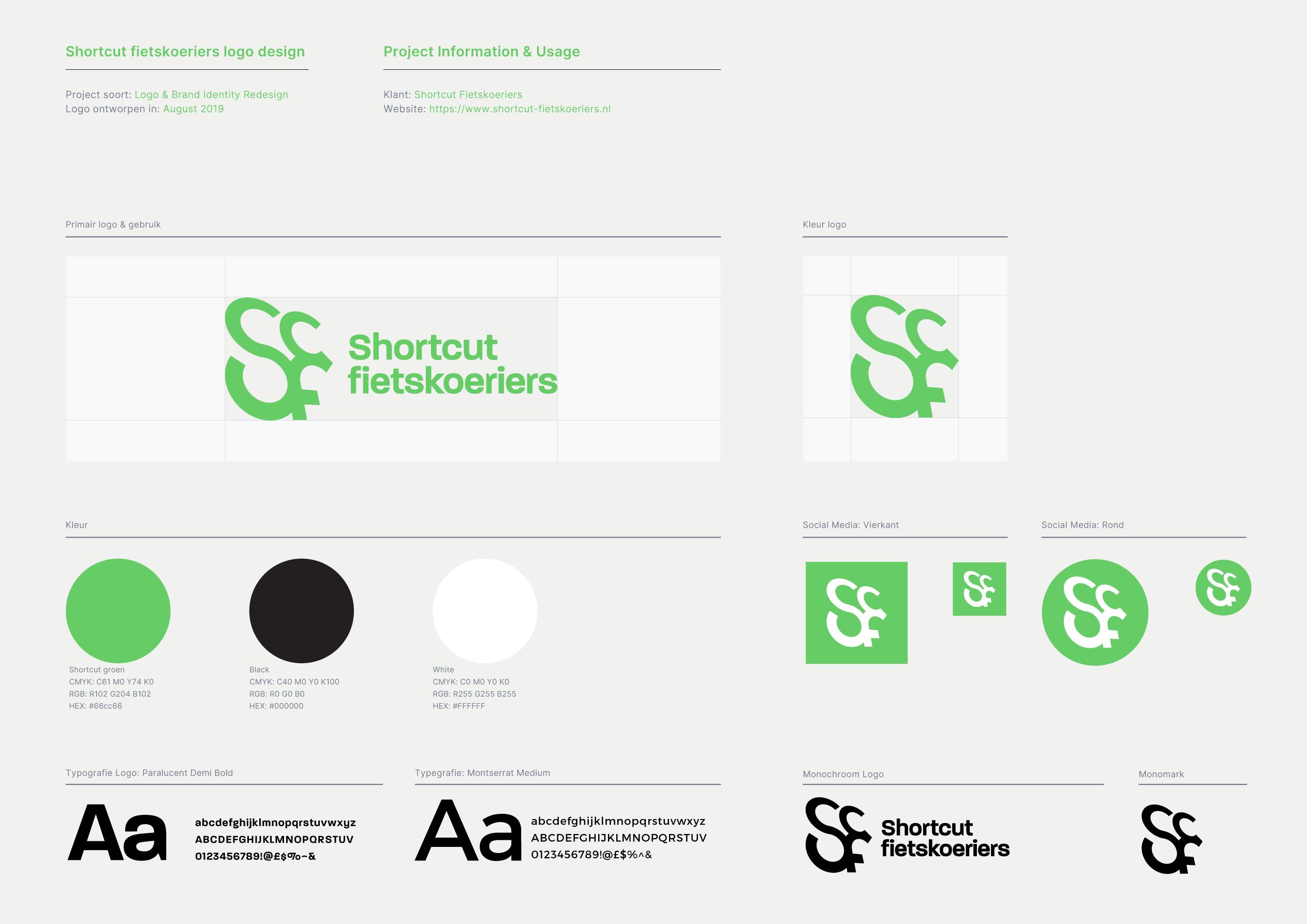 Pagina uit huisstijl handboek voor Shortcut Fietskoeriers over kleurgebruik, typografie en formaat