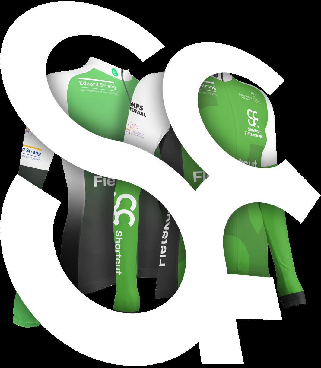 Afbeelding van het Shortcut Fietskoeriers logo met daaronder de nieuwe werkkleding