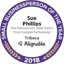 Sue Phillips received the Small Business Person of the YeaAward from Alignable in 2018