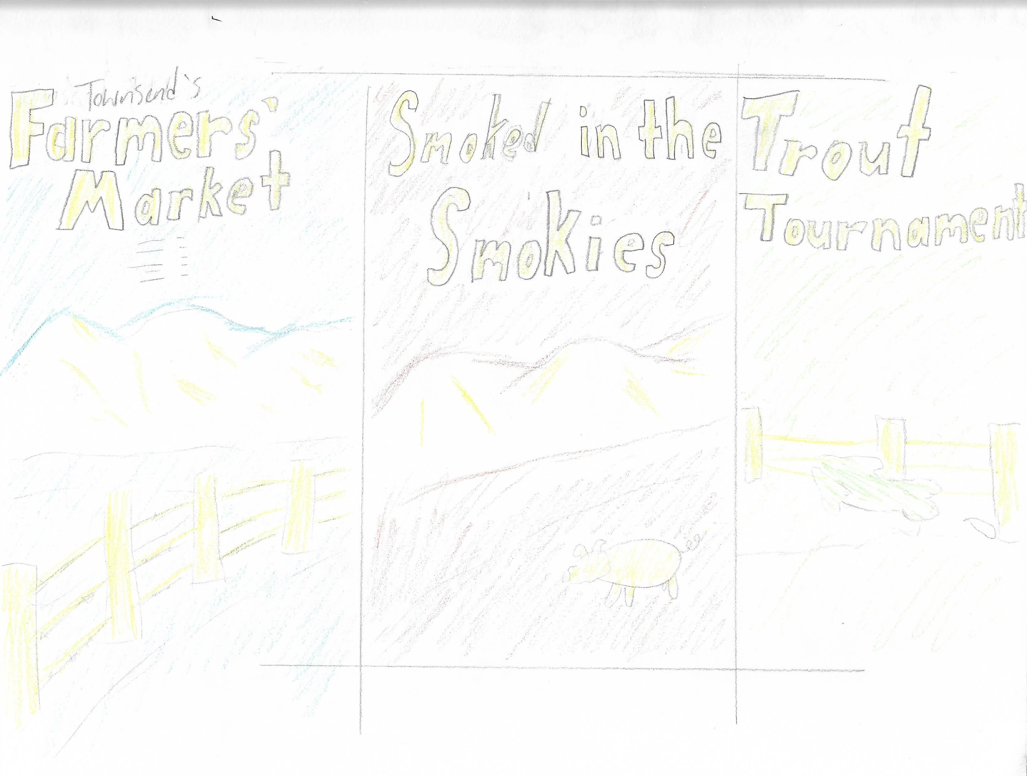 Townsend Farmers Market Poster Sketch | Toby Everett