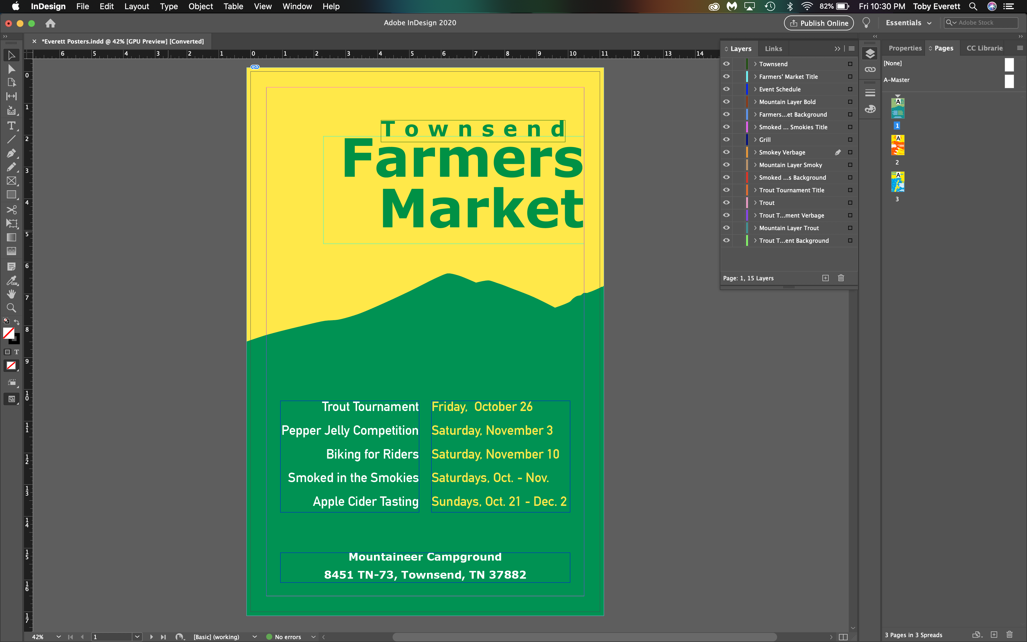 Townsend Farmers Market Poster InDesign | Toby Everett