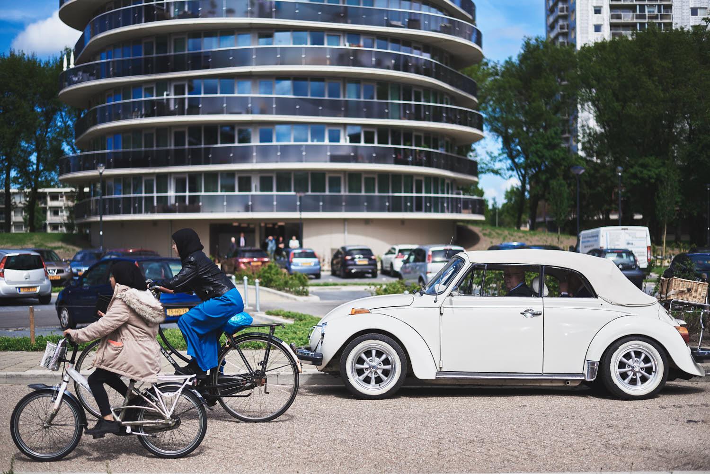 bruiloft auto vertrekken