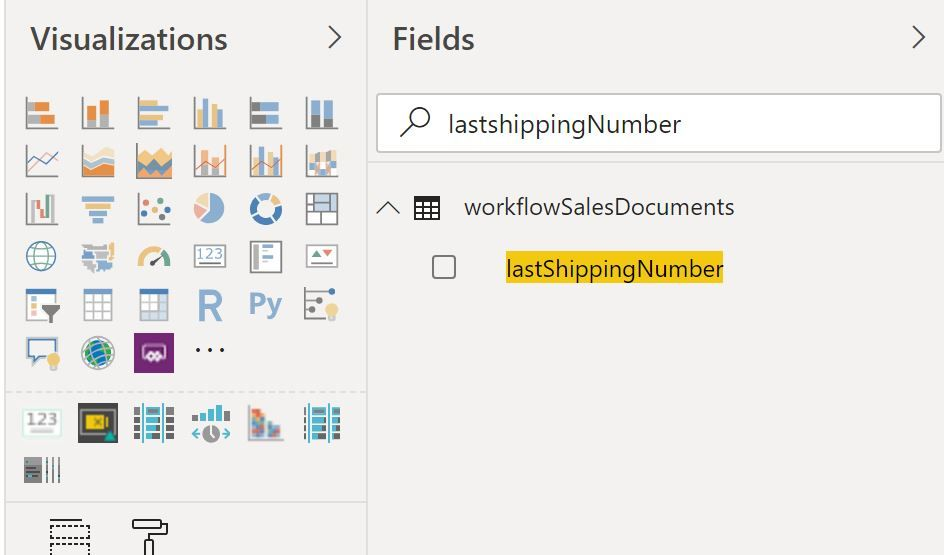 Use the field search in Power BI to find Business Central field
