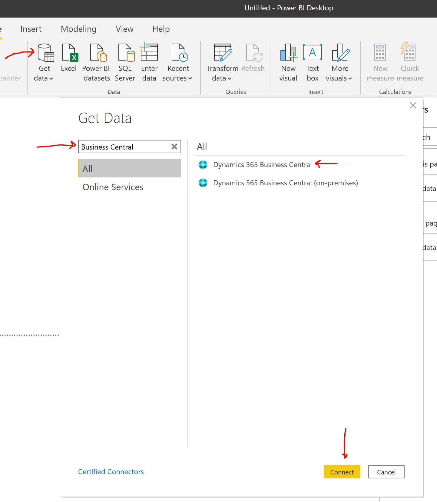 Connect Power BI to business central cloud and on premise