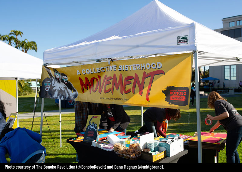 2020 Women's March San Diego - Booth banner - Photo Courtesy of Bonobo Revolution and Dana Magnus