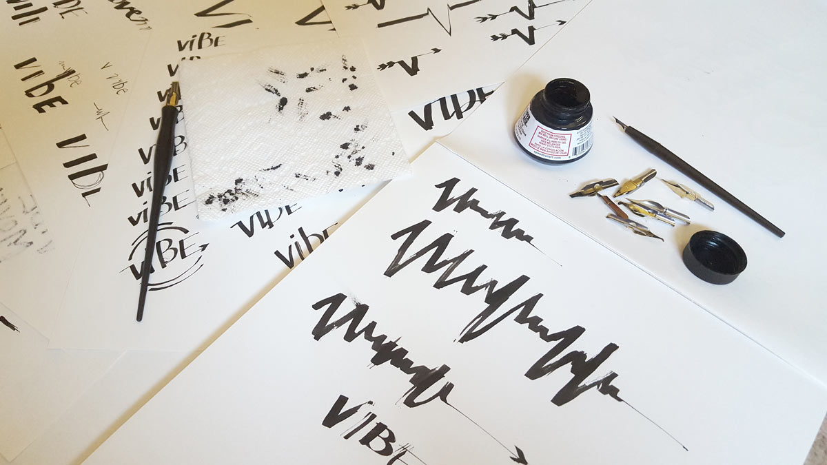 Logo process - playing with ink