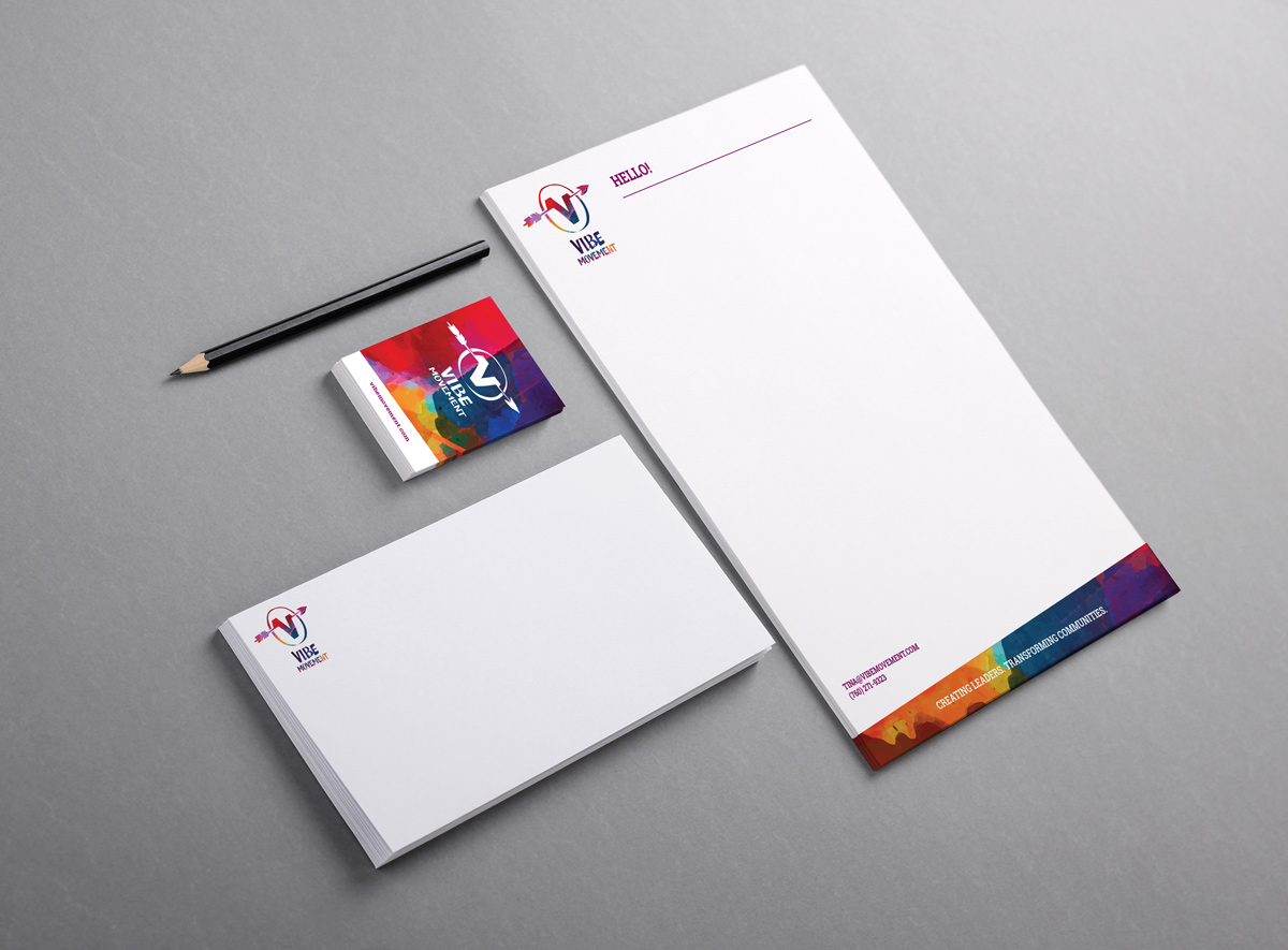 The VIBE Movement business card and stationary