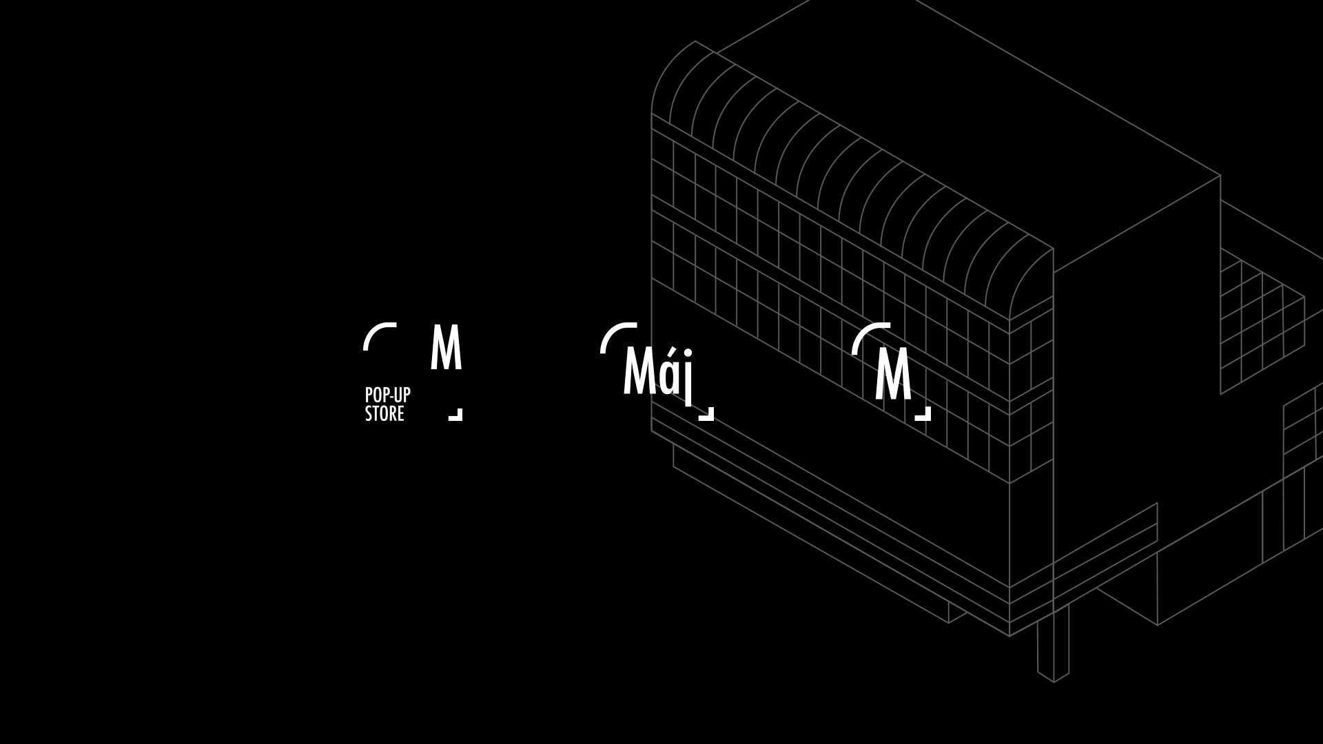 Ukázka variant loga a lineární ilustrace obchodního domu Máj