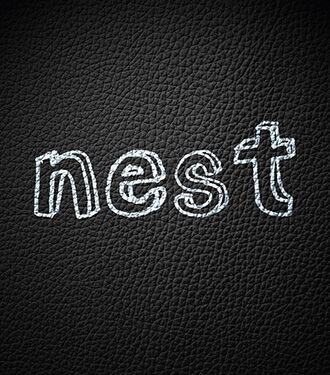 Nest's white typographic logo printed on black leather textured paper.