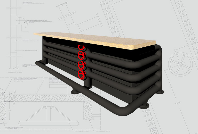 3D visualization of a tailormade bar designed using black steel pipes, oak and red wheel valve handles.