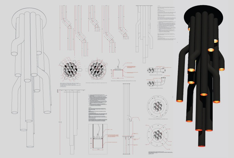 Technical drawings for bespoke light fixtures and luminaires made from black steel pipes.