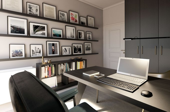 Home office decor with floating shelves.