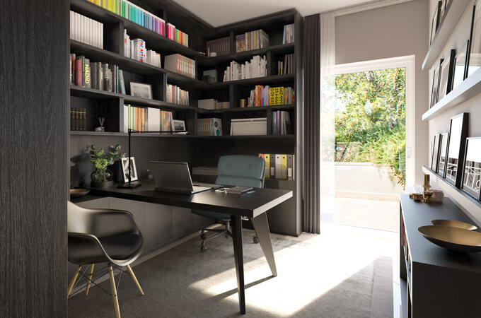 A modern residential office design with a cantilevered desk extending from a built-in bookcase made of dark wood.