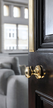 A French polished dark walnut door with a classic solid brass knob and push plate.