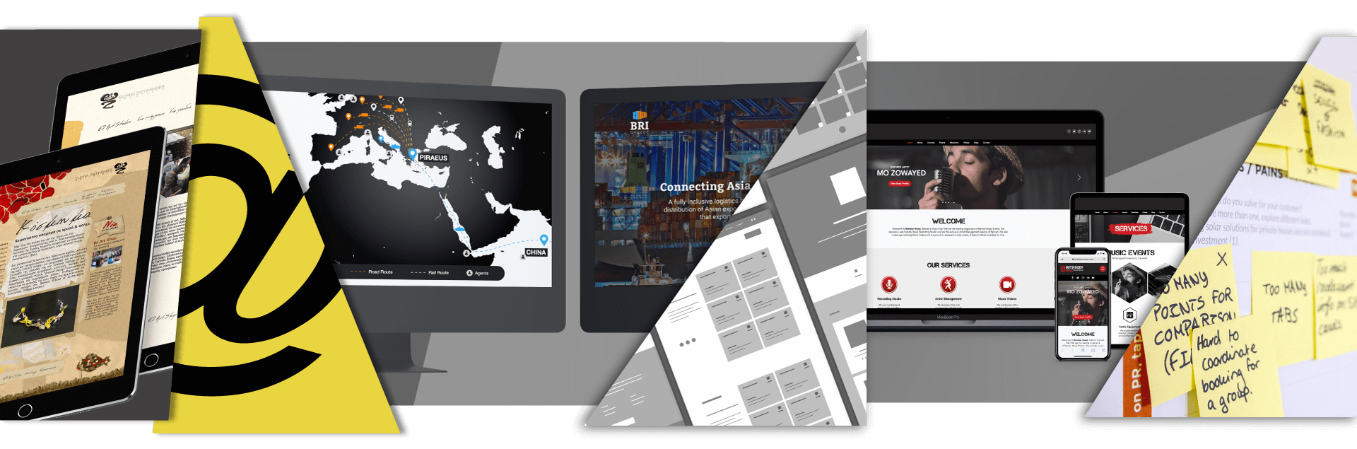Website design and development services in Cyprus - devices displaying responsive UI/UX websites designed by Reform.