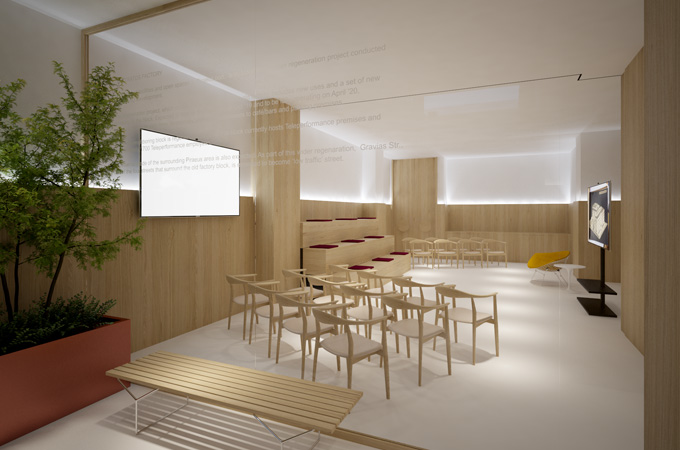 A modern minimalist multi-function conference space with white floors and oak wall cladding.
