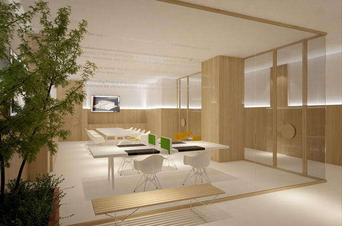 A minimalist office interior with a frameless glass enclosure, oak paneling and white designer furniture.