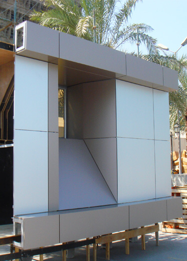 A section of composite aluminum curtain walling for a building facade.