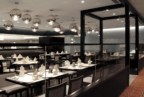 An ambient restaurant interior with contemporary Italian finesse at the InterContinental Hotel.